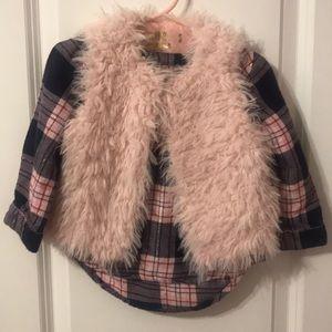 Plaid shirt + fuzzy vest. Super cute for winter.